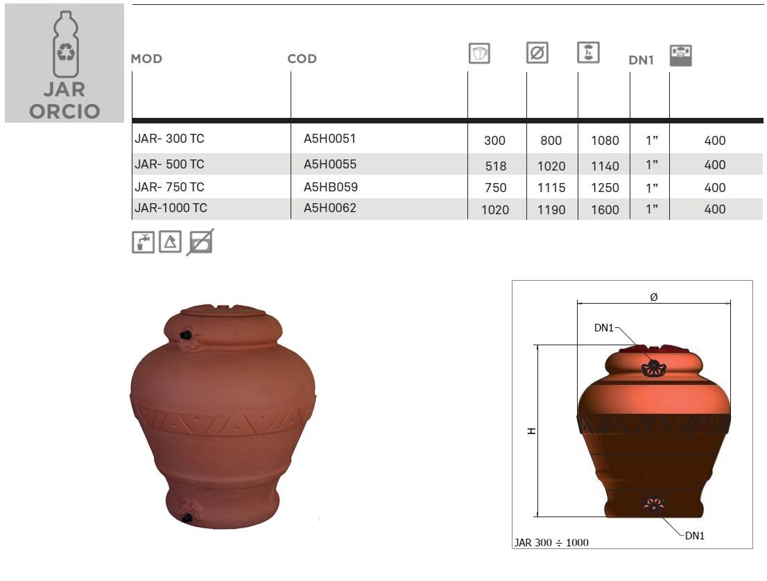Serbatoio orcio anfora acqua litri - Fornid